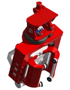 """Diese sind die idealen Maschinen für effizientes Rammen und Extrahieren, insbesondere auf Baustellen mit begrenzten Manövern und Strukturen mit niedriger Decke. Aus diesem Grund wurde ein Mechanismus für eine Drehung um 360 ° und """"Verkippung"""" entwickelt. Ein weiterer Helfer ist nicht nötig, da der Baggerfahrer das Rammgut vom Boden leicht anheben und mit Hilfe von Side-Grip-Maschinen rammen kann."""
